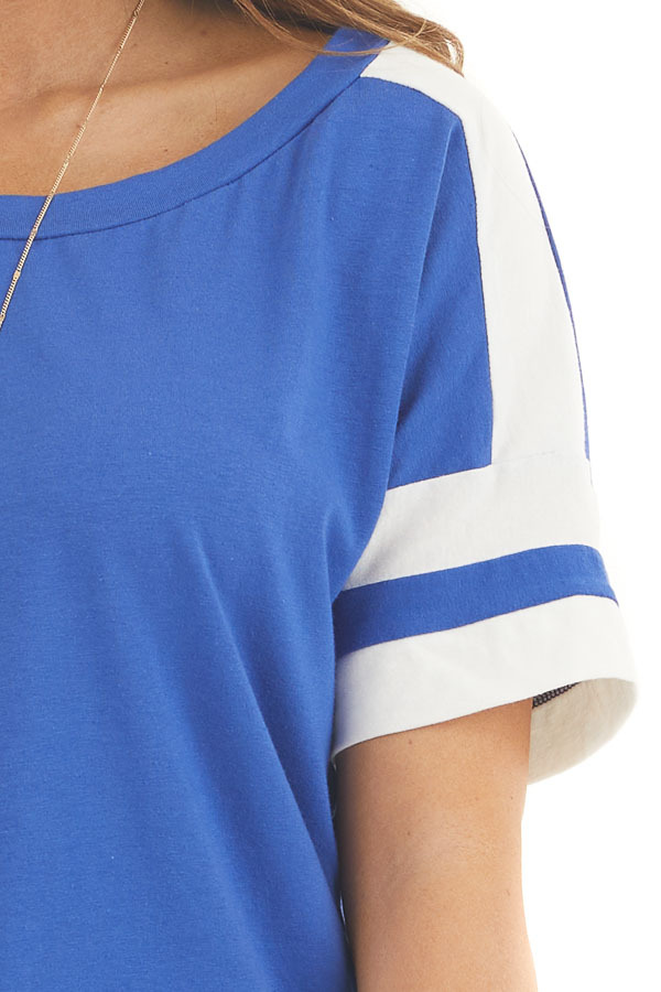 Royal Blue and White Varsity Tee with Side Slits detail