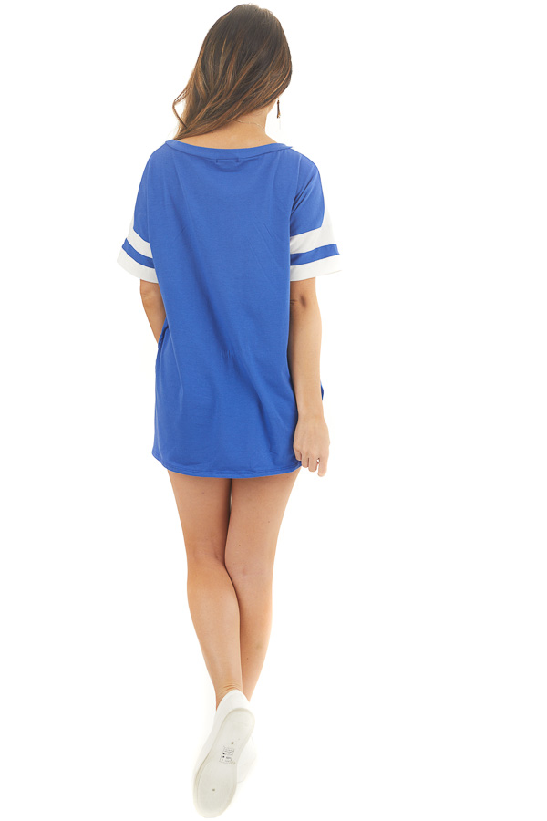 Royal Blue and White Varsity Tee with Side Slits back full body