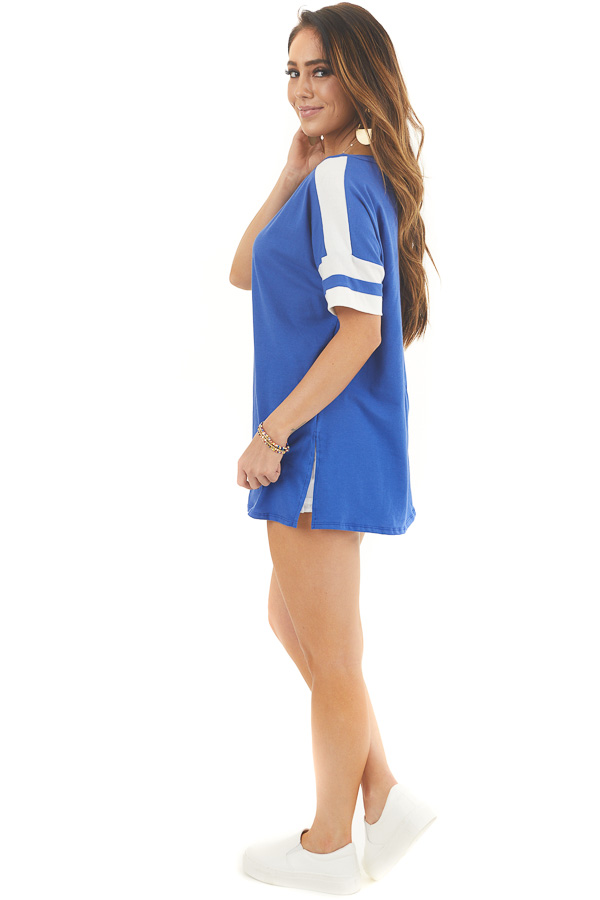 Royal Blue and White Varsity Tee with Side Slits side full body