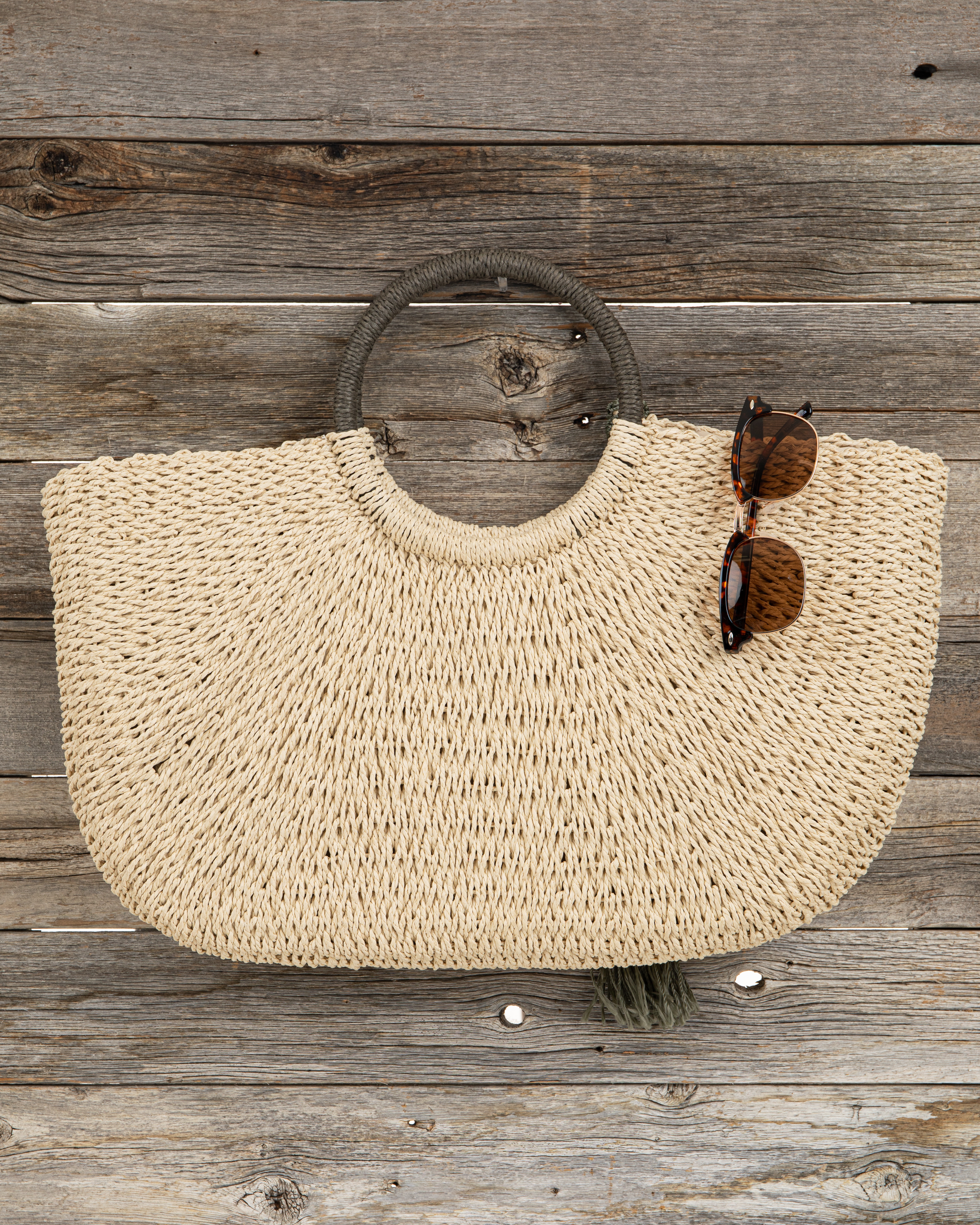 Natural Straw Tote Bag with Olive Pom Pom Details and Tassel