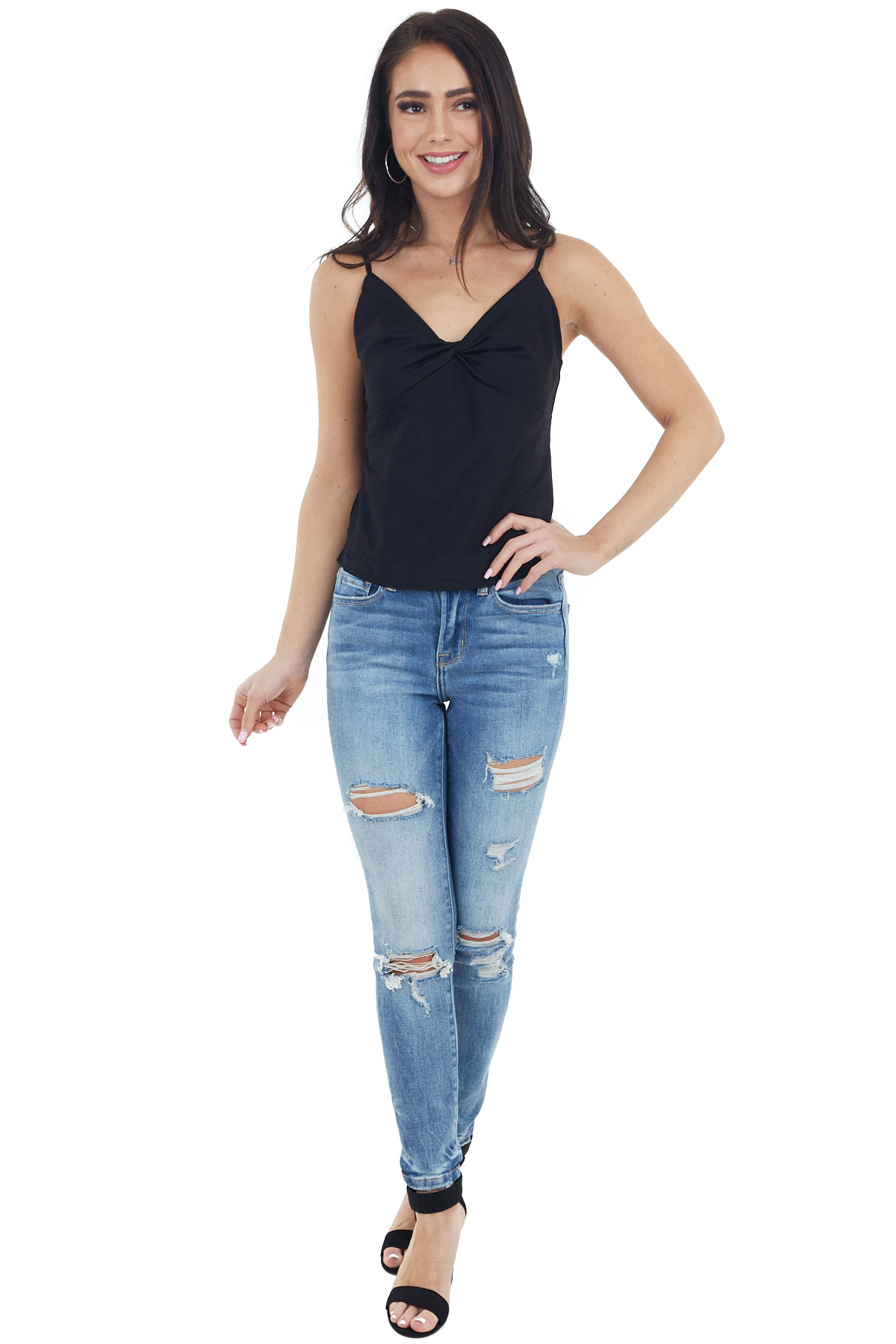 Solid Black Camisole Top with Front Twist Detail