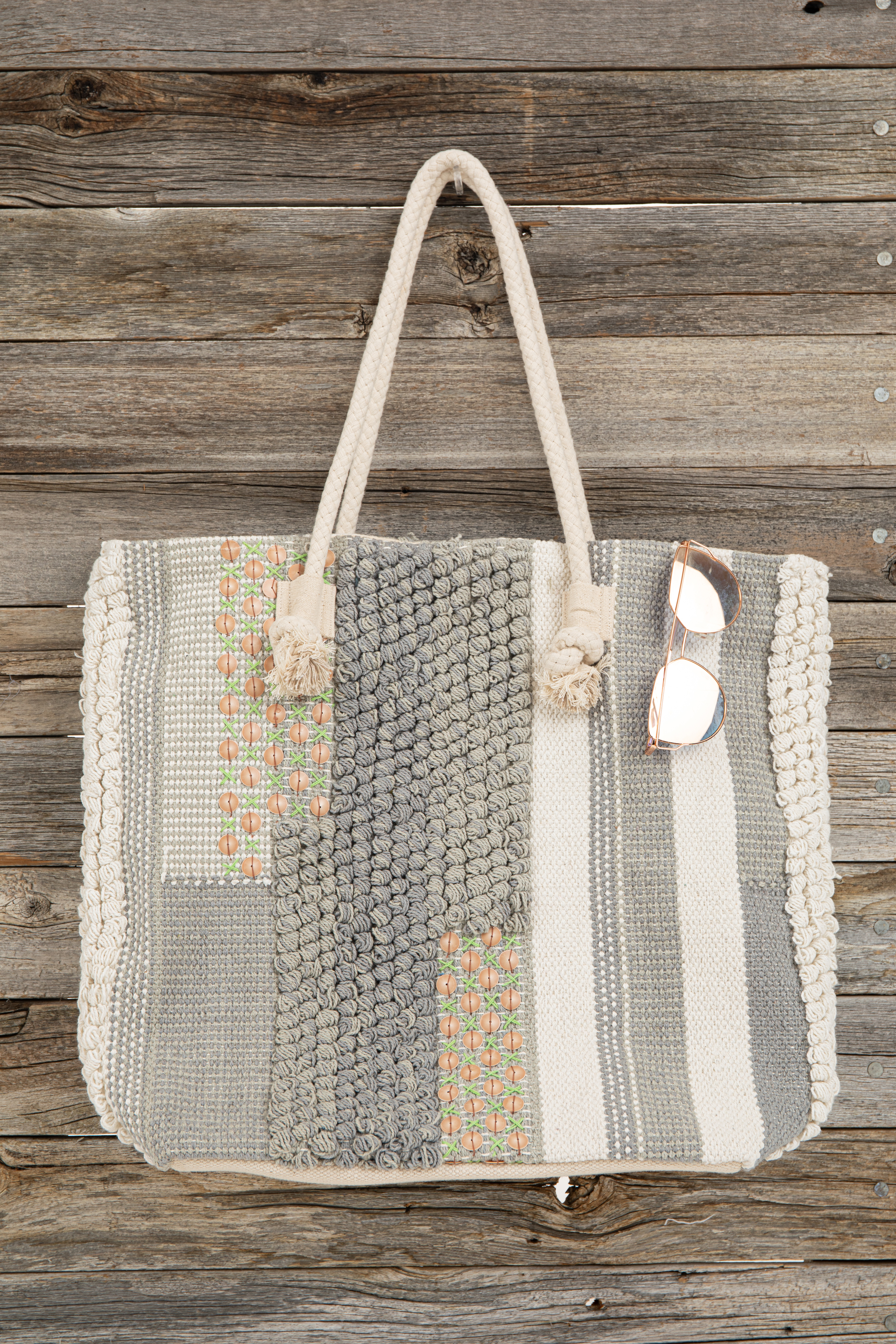 Cloud Grey Patchwork Tote with Sequins and Ivory Rope Handle