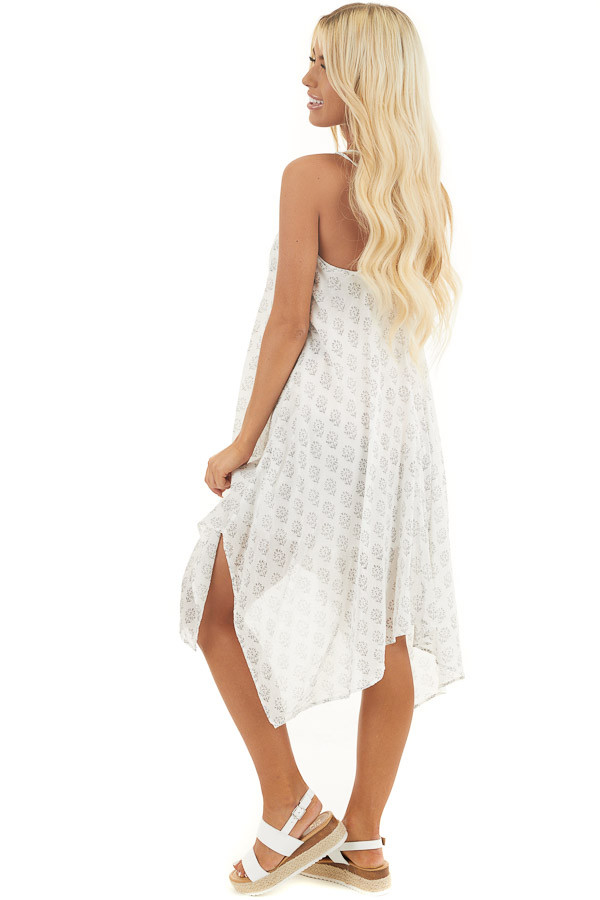 Ivory Printed Spaghetti Strap Swimsuit Cover Up Midi Dress side full body