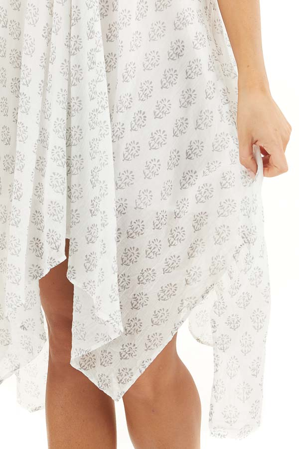 Ivory Printed Spaghetti Strap Swimsuit Cover Up Midi Dress detail