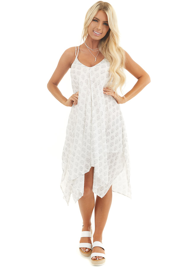 Ivory Printed Spaghetti Strap Swimsuit Cover Up Midi Dress front full body