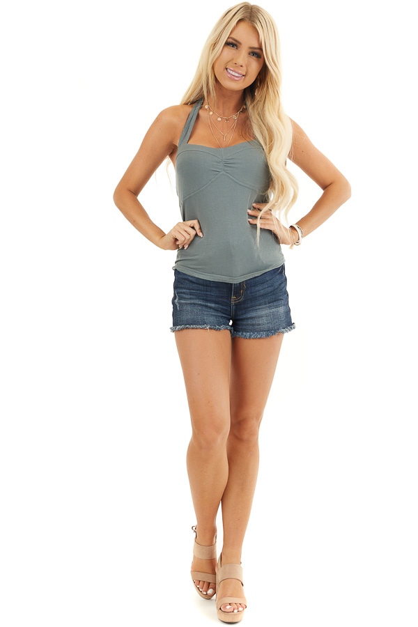 Deep Sage Crop Top with Adjustable Halter Strap front full body