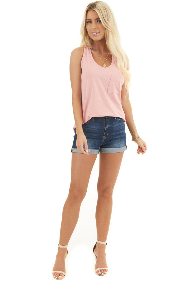 Baby Pink Racerback Tank Top with Chest Pocket Detail front full body