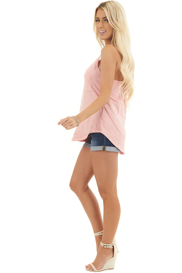 Baby Pink Racerback Tank Top with Chest Pocket Detail side full body