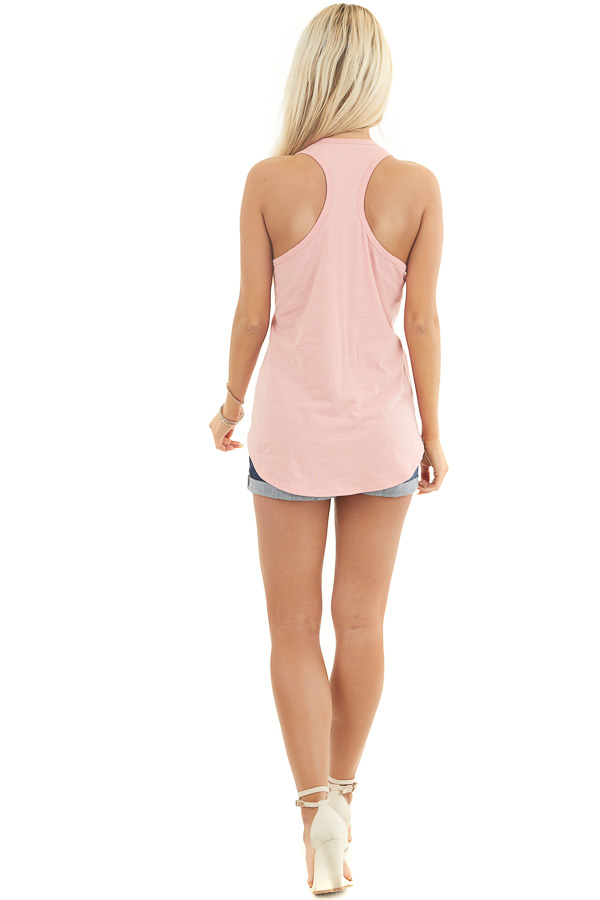 Baby Pink Racerback Tank Top with Chest Pocket Detail back full body