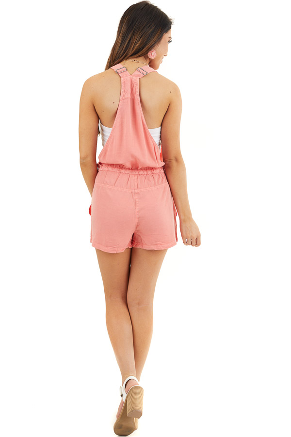 Coral Short Overalls with Front Zipper Pocket and Drawstring back full body
