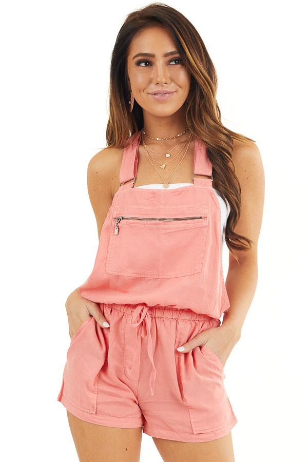 Coral Short Overalls with Front Zipper Pocket and Drawstring front close up