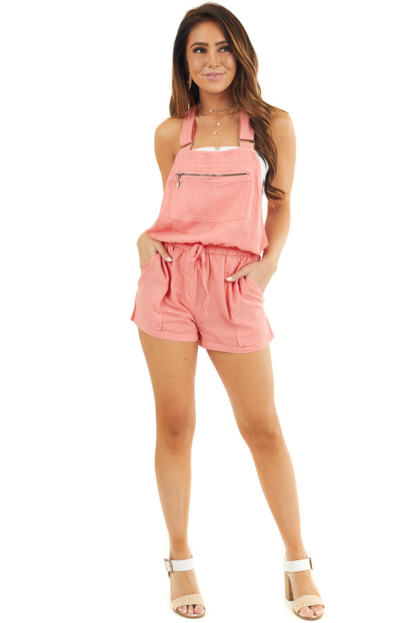 Coral Short Overalls with Front Zipper Pocket and Drawstring front full body