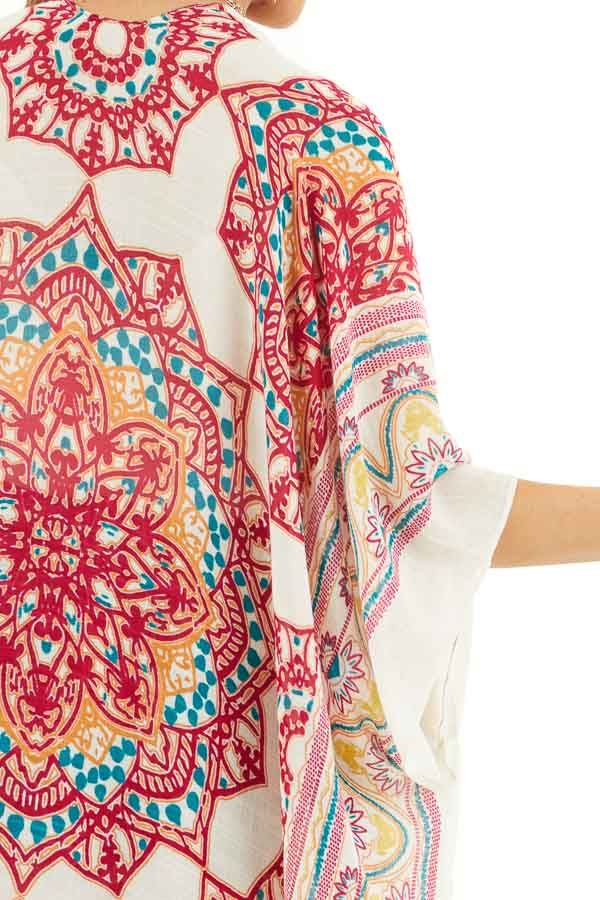 Off White and Crimson Printed Beach Kimono detail