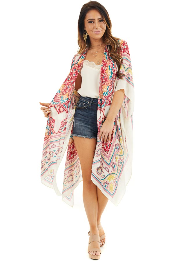 Off White and Crimson Printed Beach Kimono front full body