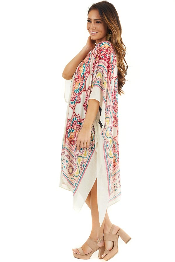 Off White and Crimson Printed Beach Kimono side full body