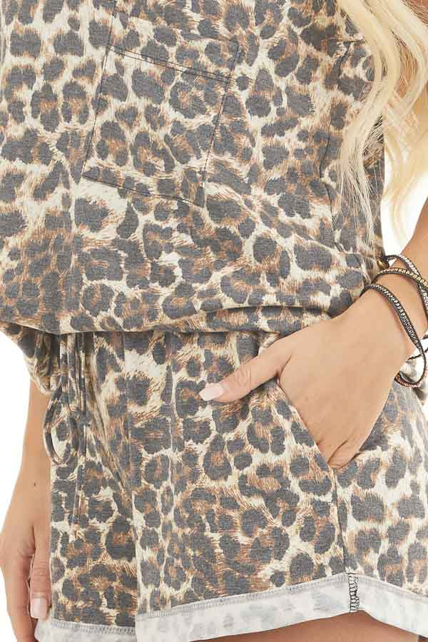 Mocha and Ivory Leopard Print Tank Top with Chest Pocket detail