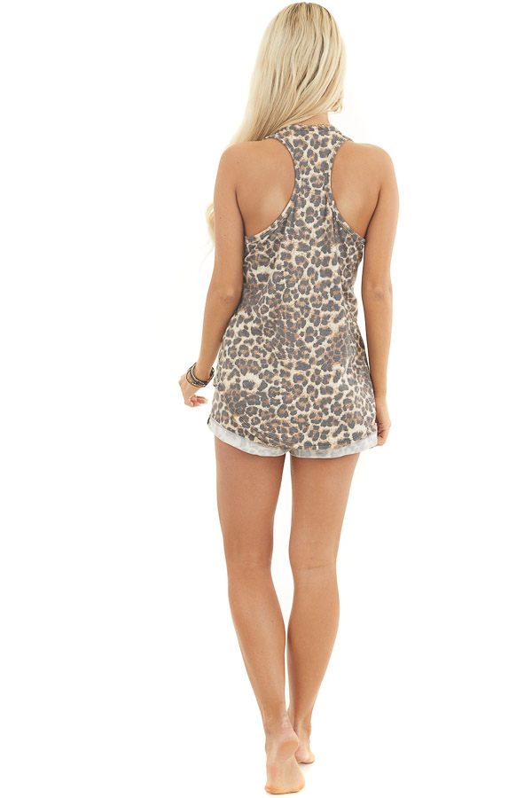 Mocha and Ivory Leopard Print Tank Top with Chest Pocket back full body