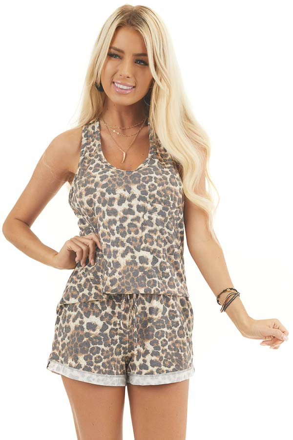 Mocha and Ivory Leopard Print Tank Top with Chest Pocket front close up