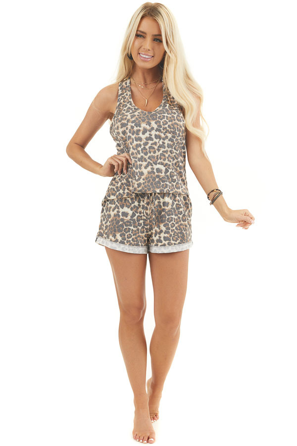 Mocha and Ivory Leopard Print Tank Top with Chest Pocket front full body