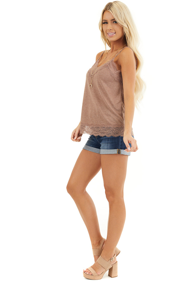 Deep Mauve Knit Camisole Top with Lace Trim side full body