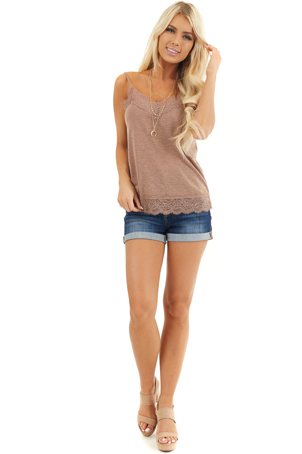 Deep Mauve Knit Camisole Top with Lace Trim front full body