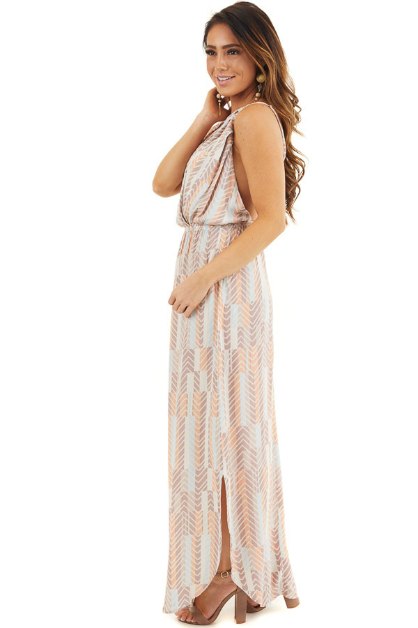 Mocha Multicolor Printed Spaghetti Strap Surplice Maxi Dress side full body