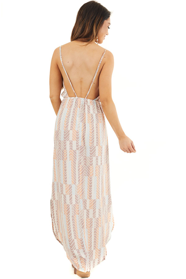 Mocha Multicolor Printed Spaghetti Strap Surplice Maxi Dress back full body