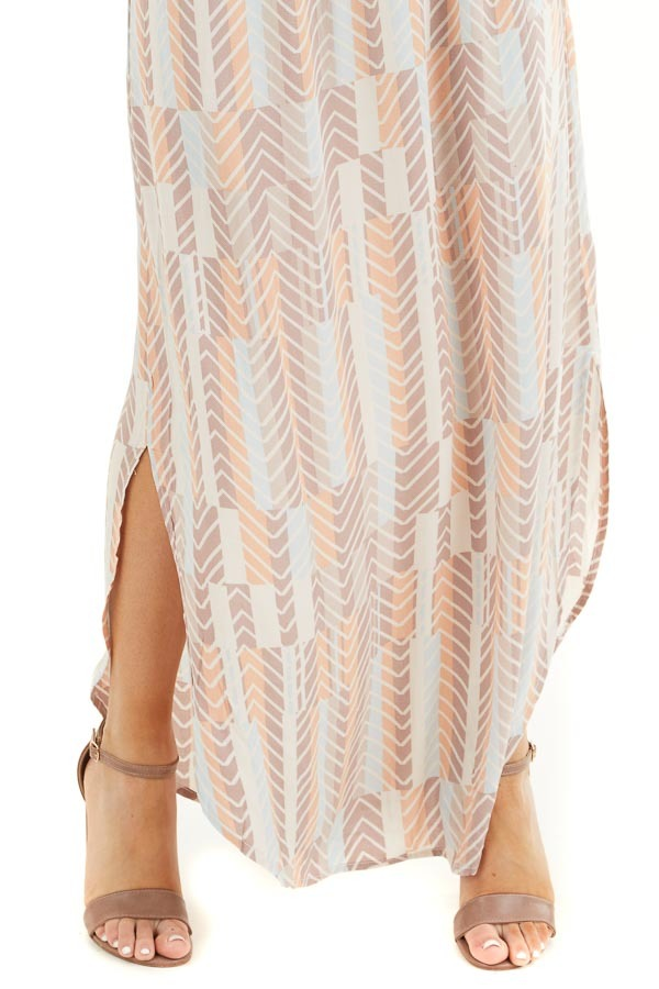Mocha Multicolor Printed Spaghetti Strap Surplice Maxi Dress detail