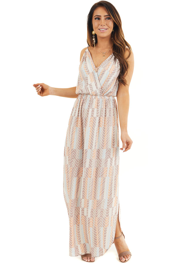Mocha Multicolor Printed Spaghetti Strap Surplice Maxi Dress front full body