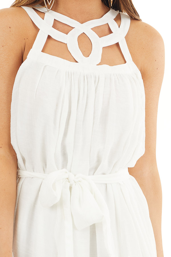 White Sleeveless Maxi Dress with Caged Neckline and Tie detail