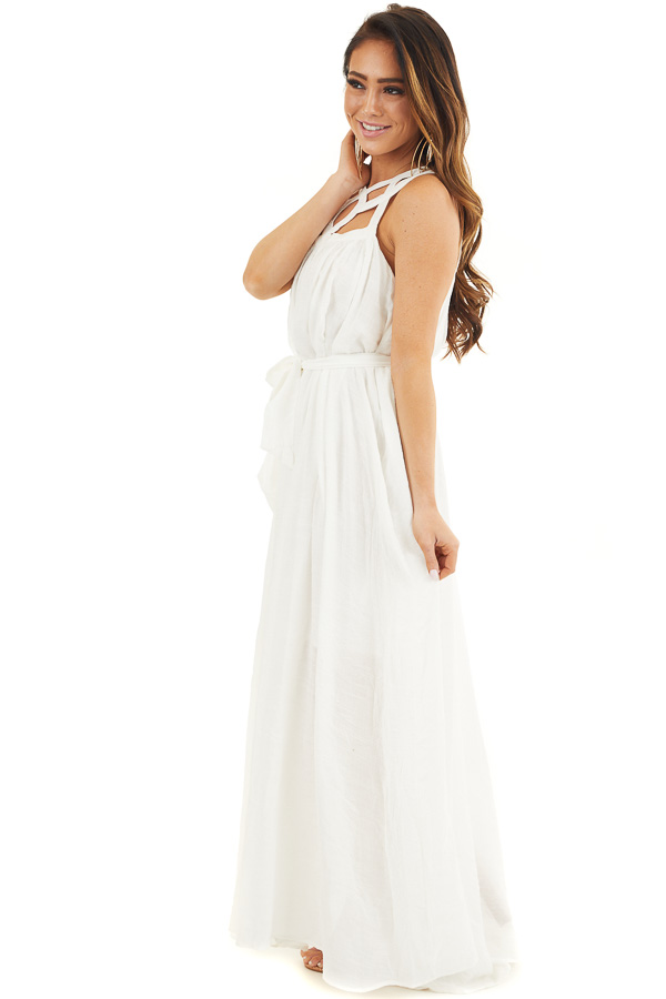 White Sleeveless Maxi Dress with Caged Neckline and Tie side full body