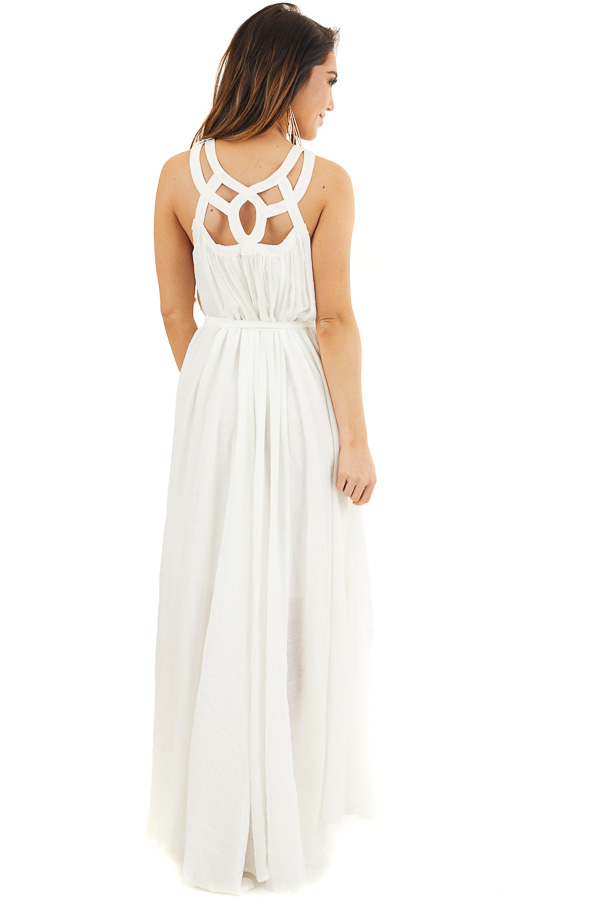 White Sleeveless Maxi Dress with Caged Neckline and Tie back full body