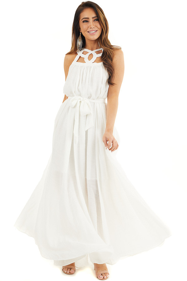 White Sleeveless Maxi Dress with Caged Neckline and Tie front full body