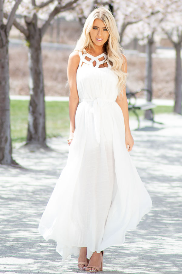 White Sleeveless Maxi Dress with Caged Neckline and Tie