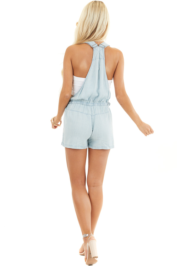 Denim Pinstripe Overall Shorts with Front Zipper Pocket back full body