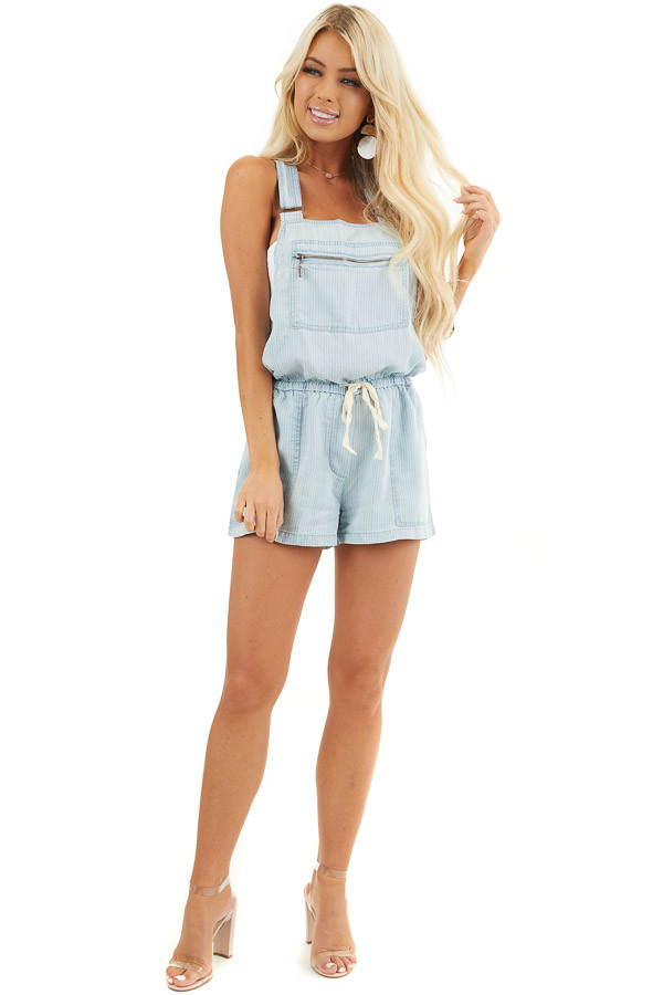 Denim Pinstripe Overall Shorts with Front Zipper Pocket front full body