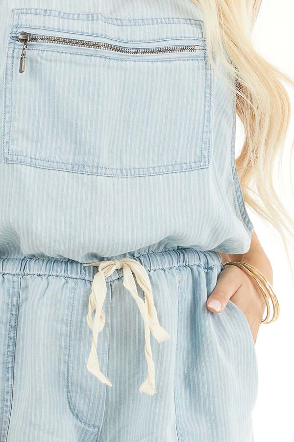 Denim Pinstripe Overall Shorts with Front Zipper Pocket detail