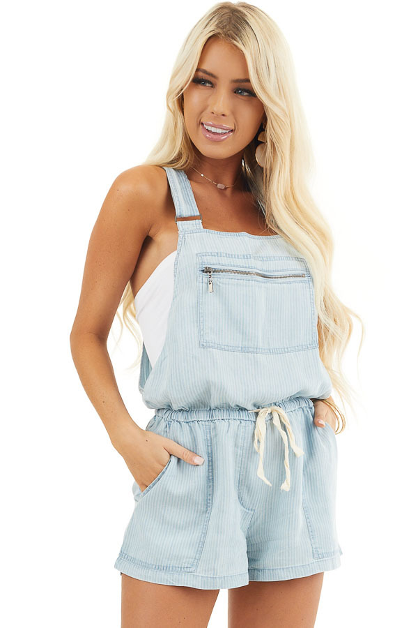 Denim Pinstripe Overall Shorts with Front Zipper Pocket front close up