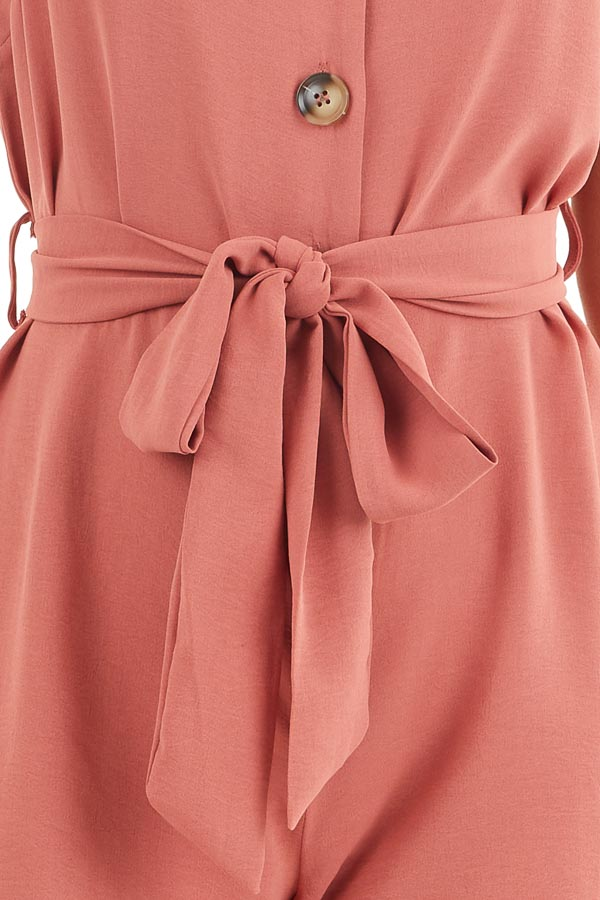 Terracotta Button Up Sleeveless Romper with Waist Tie Detail detail