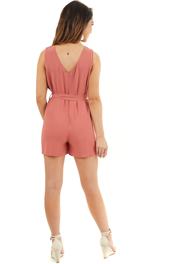 Terracotta Button Up Sleeveless Romper with Waist Tie Detail back full body