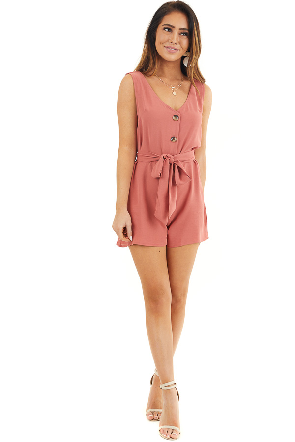 Terracotta Button Up Sleeveless Romper with Waist Tie Detail front full body