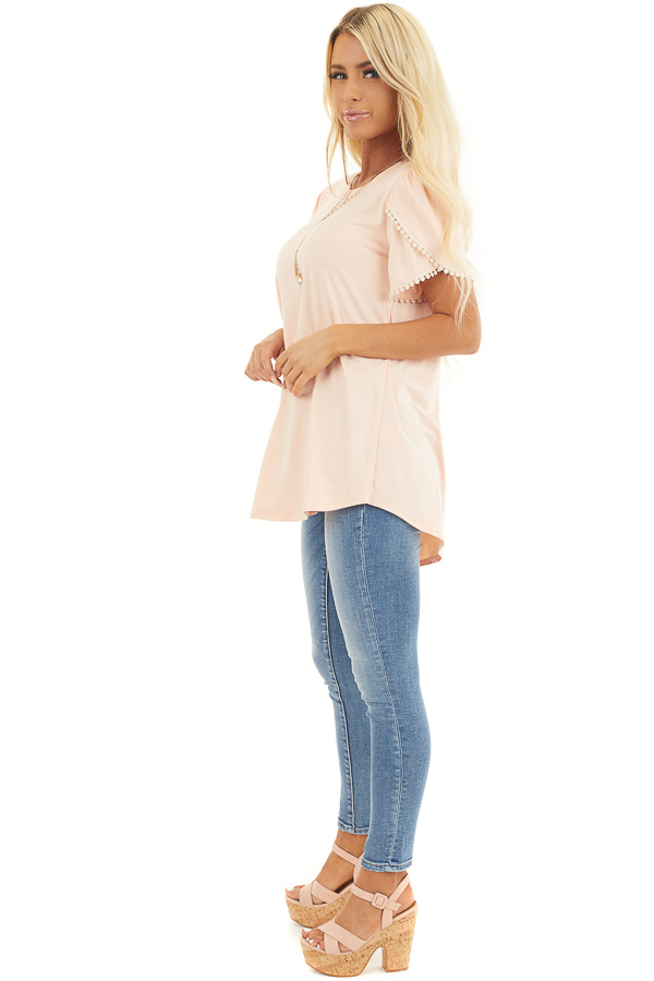 Heathered Peach Knit Top with Cream Crochet Lace Details side full body