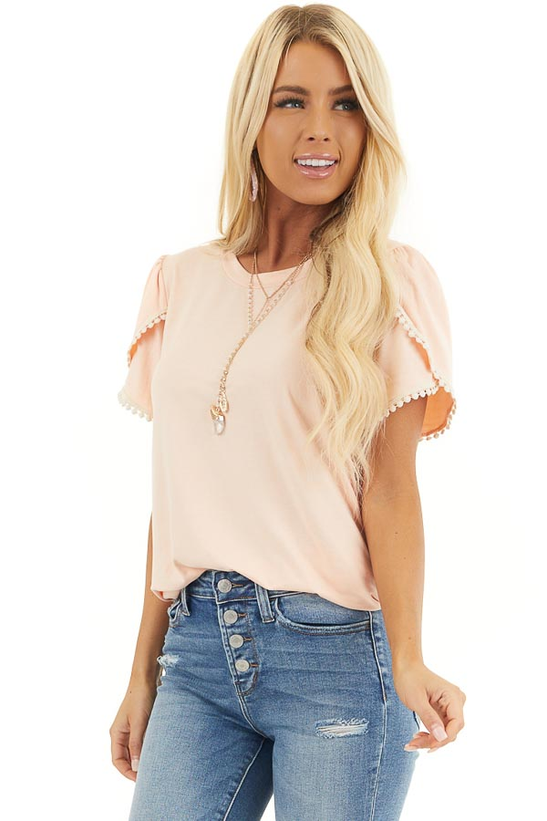 Heathered Peach Knit Top with Cream Crochet Lace Details front close up