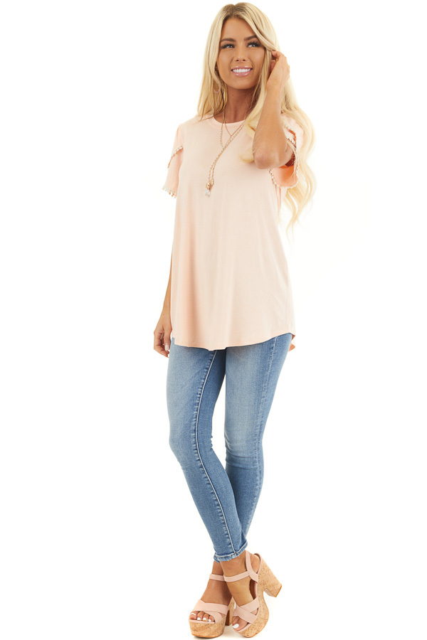 Heathered Peach Knit Top with Cream Crochet Lace Details front full body