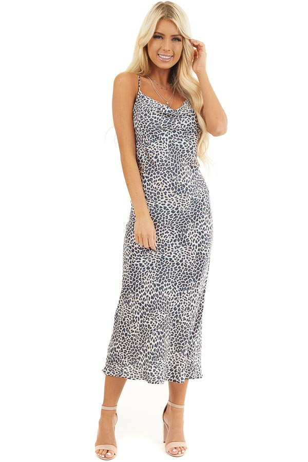 Navy Animal Print Midi Slip Dress with Draped Neckline front full body