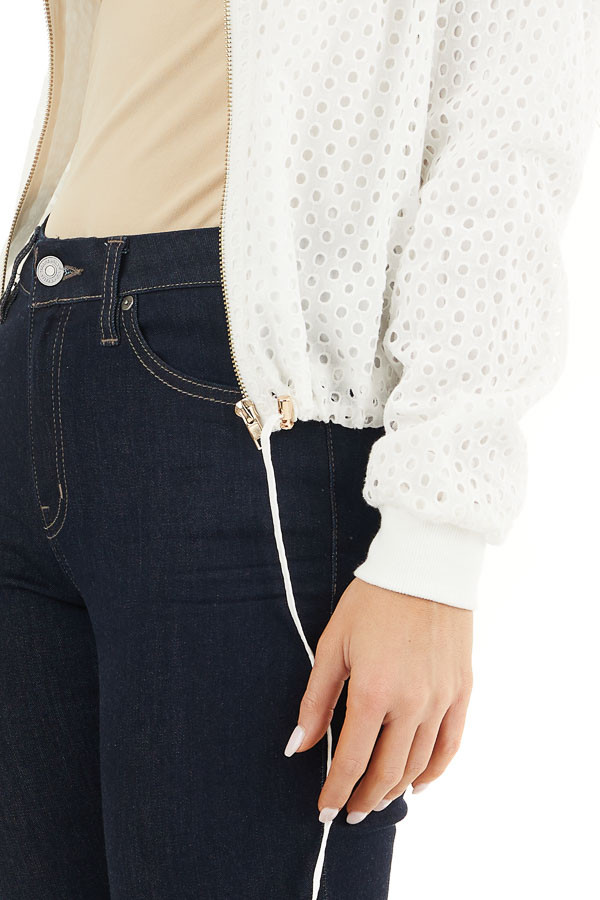 Off White Open Front Long Sleeve Jacket with Eyelet Details detail