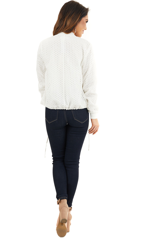 Off White Open Front Long Sleeve Jacket with Eyelet Details back full body