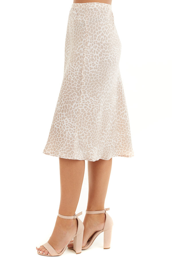 Pale Pink Animal Print Midi Length Skirt with Elastic Waist side view