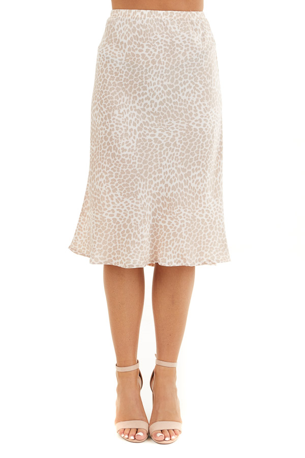 Pale Pink Animal Print Midi Length Skirt with Elastic Waist front view