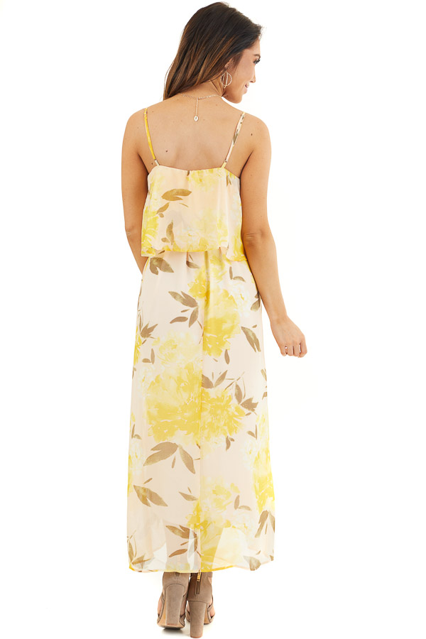 Desert Sand and Marigold Floral Sleeveless Dress with Tie back full body
